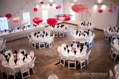 Love the giant tissue flowers as fun dramatic decor.  The shop at Badger Farms -- photo by Jennifer Weinman