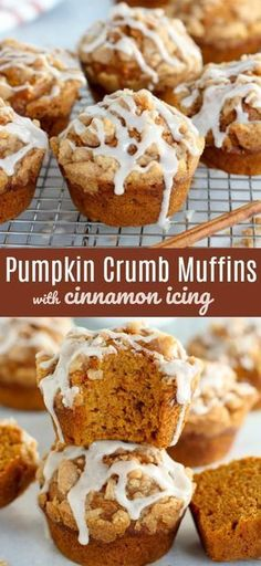 Moist and tender spiced Pumpkin Muffins topped with a brown sugar crumble and a drizzle of cinnamon icing. Moist and tender spiced Pumpkin Muffins topped with a brown sugar crumble and a drizzle of cinnamon icing. Pumpkin Spice Muffins, Pumpkin Bread, Spiced Pumpkin, Pumpkin Zucchini Muffins, Köstliche Desserts, Delicious Desserts, Dessert Recipes, Yummy Food, Scones