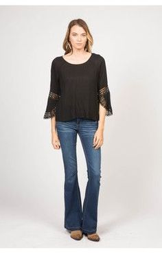 Donella Lace Sleeve Top