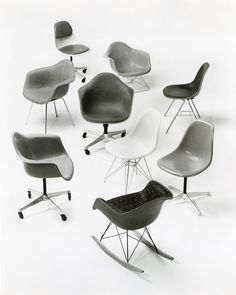 Archival image of the Eames Shell Chair family. Vintage Office Chair, Cool Chairs, Blue Chairs, Desk Chairs, Office Chairs, Office Furniture, Accent Chairs For Sale, Comfortable Office Chair, Upholstered Swivel Chairs
