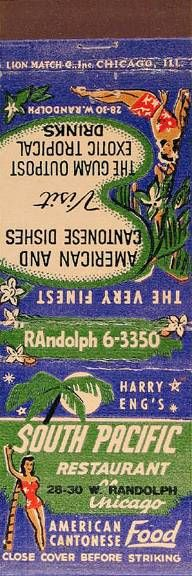 Harry Eng's South Pacific Restaurant Matchbook   #exotica #hawaiian #retro