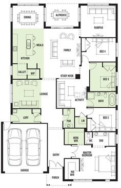 Really like this, would just switch the bathroom and bedroom so the plumbing was together. House Design: Vancouver - Porter Davis Homes House Layout Plans, Dream House Plans, House Layouts, House Floor Plans, 6 Bedroom House Plans, Single Storey House Plans, Model House Plan, Home Design Floor Plans, House Blueprints