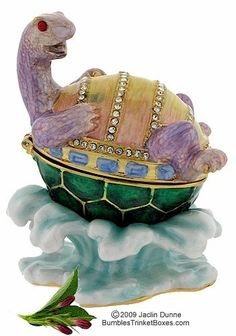 Trinket Box: Turtle On Back in Water