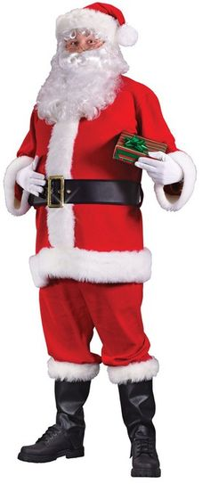 Standard Size Flannel Santa Suit - Ring in the season with this wonderful Fleece Santa Suit costume. This pull over jacket and pants are made with fleece. It also comes with hat, belt, gloves and boot tops. A great option for Christmas morning or your holiday parties! #YYC #Calgary #Santa #SantaClausIsComingToTown