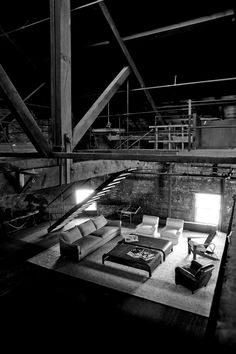 Emmanuelle sofa and Scarlett chairs shot in classic industrial building in Griffintown, Montreal. http://www.montauksofa.com