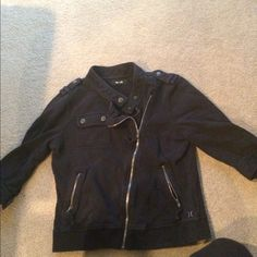 Black 3/4 length sleeve jacket Black 3/4 length sleeve jacket size medium probably fits more like a small though. Button on top left shoulder is broken but you can't tell when wearing other then that all other buttons and zippers is great condition. Hurley Jackets & Coats