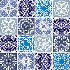Adesivo de Azulejo Vintage X4 Adesivos Colorido (15x15cm)