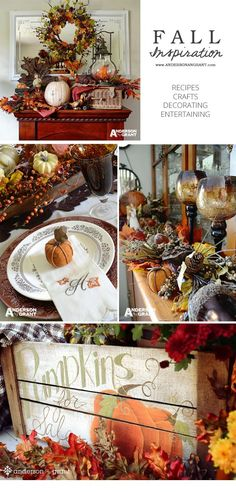 Fall Inspiration of recipes, crafts, decorating, and entertaining ideas… Fall Home Decor, Autumn Home, Autumn Decorating, Decorating Ideas, Thanksgiving Decorations, Thanksgiving Ideas, Table Decorations, Autumn Crafts, Fall Projects
