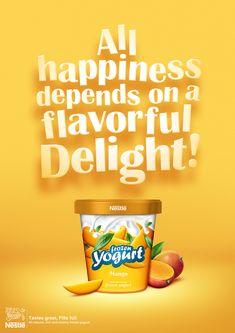 Nestle-Frozen Yogurt by Junaid Younas, via Behance Food Graphic Design, Food Poster Design, Creative Poster Design, Ads Creative, Creative Advertising, Food Design, Advertising Poster, Yogurt Packaging, Ice Cream Poster