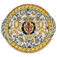 Handmade Home Décor CERAMICHE D'ARTE PARRINI - Italian Ceramic Art Flat Centerpiece Plate Pottery Decorated Hourses Lily Hand Painted Made in ITALY Tuscan *** Check this awesome product by going to the link at the image.