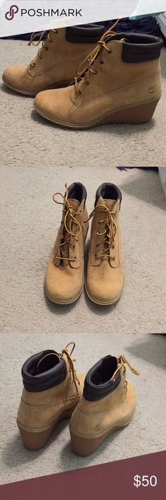 Timberlands Work boots with a feminine twins, wedges! Never worn only tried on, just not my style! Timberland Shoes Combat & Moto Boots