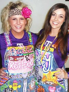 Two pairs of custom painted overalls for Tarleton State University that I painted!