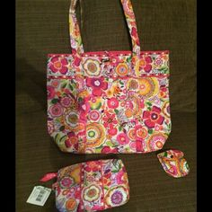 "Vera Bradley ""Vera"" tote set- NWT- Clementine Brand new set, comes with Vera tote, MEDIUM  cosmetic bag and paci pod( I use mine for change and ponytail holders), retired pattern and smoke free home Vera Bradley Bags Totes"
