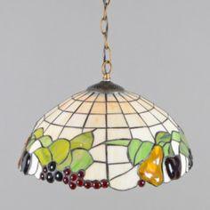 Lámpara colgante TIFFANY Mybster - Acogedora y encantadora lámpara colgante, su cubierta está hecha a mano en el estilo de Tiffany, con muchos colores y frutas en sus cristales.