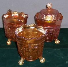 Antique Glass Spooner's | Vintage Fenton Carnival Glass Marigold Covered Sugar-Creamer & Spooner