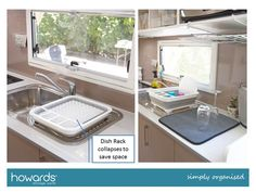 Two ideas for easier washing up:  a. Collapsible draining rack b. Drying mat See these and more in the Howards Caravan Storage Fact Sheet.