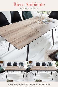 Perfekt für jede Mahlzeit und zu jedem Anlass: Unser vielseitig einsetzbarer Esstisch mit verlängerbarer Tischplatte. So kannst Du den Tisch mit wenigen Handgriffen von 120 cm auf 160 cm Länge vergrößern. Möglich macht dies ein ausgeklügeltes System, bei dem das Verlängerungsstück direkt unter dem Tisch verstaut ist. So musst du dieses nur hervorziehen und aufklappen, sobald du die Tischplatte auseinander gezogen hast. Retro Look, Sideboard, Meal, Oak Tree, Grey, Ad Home, Essen