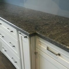 Close up of the countertop.  The color is Coastal Grey from Caesarstone US And the fabrication was by Desert Sky Surfaces, LLC #showroom #remodel #countertops #quartz #caesarstone #tops #grey #gray #chandler #arizona