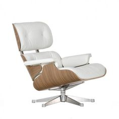 Eames Lounge Chair (Classic) White Leather, Walnut, Chrome Base