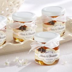 """Did you know September is National Honey Month? How sweet! Well, if you're in need of a super cute party favor idea, and want to """"stick"""" with the honey theme, then these """"Meant to Bee"""" mini personalized honey jars might """"bee"""" just what you're looking for."""