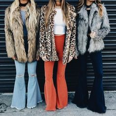 Faux fur jackets with cute denim bell - bottoms.