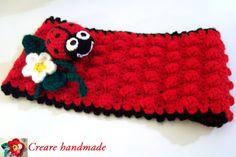 fascia per capelli in lana con coccinella