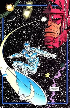 Ron Lim - Silver Surfer and Galactus Marvel Comics Art, Marvel Comic Books, Marvel Heroes, Comic Books Art, Comic Art, Heroes Comic, Captain Marvel, Marvel Comic Character, Marvel Characters