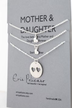 Mother Daughter Necklace. Mother Daughter Jewelry // Inspirational Jewelry // Simple Delicate Sterling Silver by erinpelicano on Etsy