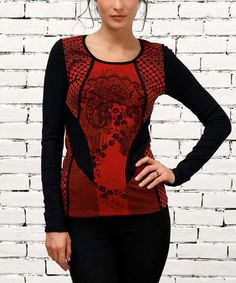 Look what I found on #zulily! Red & Black Abstract Top by Angels Never Die #zulilyfinds