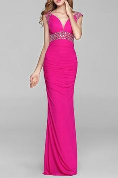 Dezzal - Dezzal Ruched Beaded Backless Prom Dress - AdoreWe.com