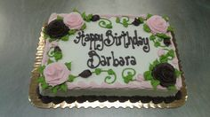 Vine and roses sheet cake