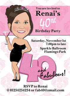 Womans 40th Birthday Party Invitation