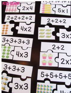 Repeated addition games students can play during math centers like these fun arrays puzzles that make introducing multiplication and equal groups exciting for kids Multiplication Activities, Math Games, Math Activities, Numeracy, Multiplication Tables, Multiplication Problems, Leadership Activities, Word Games, Learning Games