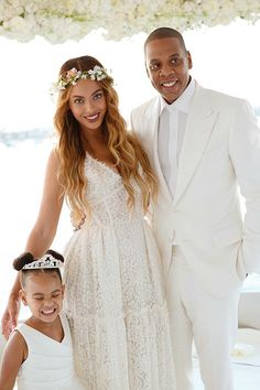 Beyonce & Jay With One Very Cute Blue Ivy On Tina & Richard Lawson's Wedding Day 12.04.2015