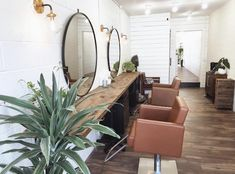 Hunter Salon in San Luis Obispo, CA is a calming oasis that perfectly showcases the camel Avant Styling Chair. We are obsessed with every inch of this beautiful space!