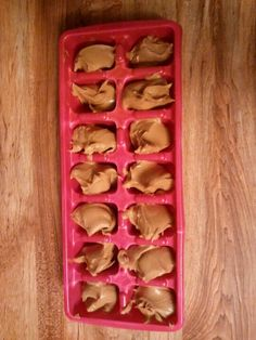 To entertain your dog or for treats they love, spray an ice cube tray with non stick spray and scoop a spoonful of peanut butter into each hole, freeze, and serve! My dog loves it!