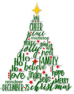 Christmas Tree SVG File PDF / dxf / jpg / png / eps / ai / Christmas Words SVG File for Cameo V2 V3 for Cricut & other electronic cutters by OneOakDesigns on Etsy