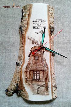 Weiteres - Hausporträt zu bestellen, Hölzerne Wanduhr. - ein Designerstück von AlgirdasPiroArt bei DaWanda