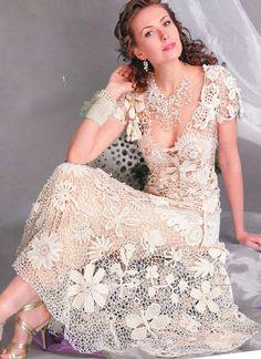 Crochet Patterns Russian eBook Irish Lace Dresses Wedding Fashion Diagram Charts FREE SHIPPING - EEE001
