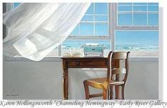 """Karen Hollingsworth Channeling Hemingway Paper Lithograph  20"""" x 32""""  NEW #Realism"""