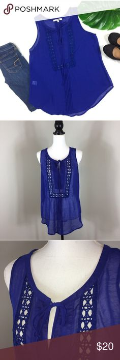 Daniel Rainn Sheer Blue Blouse Daniel Rainn Sheer Blue Blouse. Size large. Approximate measurements flat laid are 27' long and 18' bust. Pre-owned condition with basic wear. No snag or pulls that I can find.  ❌I do not Trade 🙅🏻 Or model💲 Posh Transactions ONLY Daniel Rainn Tops Tank Tops