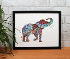Excited to share this item from my #etsy shop: Colorful Elephant painting, Elephant art, Elephant home decor, elephant zentangle, safari elephant art, watercolor elephant, elephant print #safarielephant #zentangleelephant #elephant  #watercolorelephant #painting of elephant #mandalaart #rainbow #blue #indiainspiredart Elephant Elephant, Colorful Elephant, Zentangle Elephant, Elephant Home Decor, Barn Wood Frames, Mandala Art, Watercolor And Ink, Fine Art Paper, Painting & Drawing
