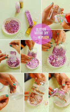 These DIY decoration ideas will complement any color scheme. A touch of glitter can turn an old disused item into a sparkling new favorite. A DIY wedding can be Baby Food Jar Crafts, Baby Food Jars, Pot Mason Diy, How To Make Glitter, Glass Bottle Crafts, Glass Bottles, Diy Bebe, Pinterest Crafts, Deco Floral