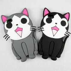 1 x Lovely Cheese Cat Silicon Back Case Skin Cover for iPhone 4G 4S 5G 5S