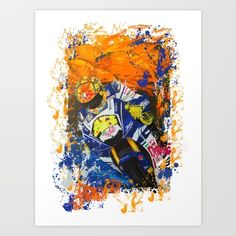 Collect your choice of gallery quality Giclée, or fine art prints custom trimmed by hand in a variety of sizes with a white border for framing. #moto #motorcycle #caferacer #ride #art #digitalart #artist #society6 #racer #race #superbike #sportsbike #paint #splatter #color