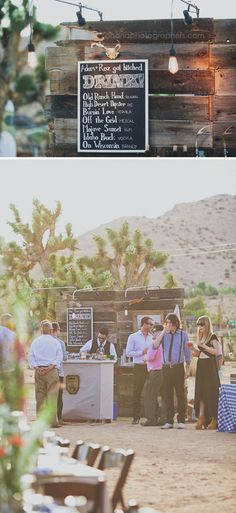 diy wedding bar with bride and groom signature drinks. Rimrock Ranch Wedding in Pioneer Town // Joshua Tree Wedding