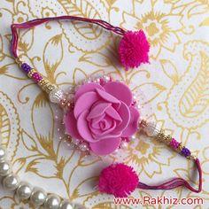 Product Description: Preety Pink Rose Rakhi With Pom Pom Dori Rakhi Pic, Rakhi Photo, Handmade Rakhi Designs, Handmade Design, Rakhi Images, Raksha Bandhan Photos, Happy Raksha Bandhan Wishes, Rakhi Bracelet, Buy Rakhi Online