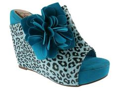 These wedged slip-on peep-toes from Elegant by Beston feature a rich faux suede construction. A flower embellished, leopard print strap and covered heel add exotic visual interest to these stylish platform slip-ons. Cat Shoes, Shoe Boots, Wedge Sandals, Wedge Shoes, Leopard Print Shoes, Leopard Prints, Im Blue, Kinds Of Shoes, Print Wrap
