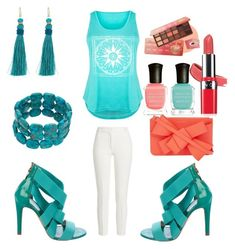 """Turquoise Set."" by peacock-style on Polyvore featuring Sergio Rossi, Joseph, LC Trendz, Delpozo, Lauren Ralph Lauren, Avon, Deborah Lippmann, peachlipstick and plus size clothing"