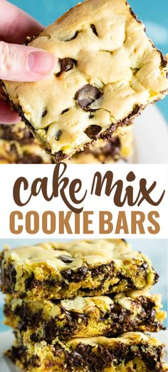 cake mix desserts These cake mix cookie bars are made with just 4 ingredients everyone loves this easy dessert recipe! All you need to make this cake mix dessert is a box of yellow cake mix, oil, eggs, and chocolate chips or chunks. Cake Mix Desserts, Cake Mix Cookie Recipes, Easy Desserts, Delicious Desserts, Dessert Recipes, Easy Dessert Bars, Bar Cookies From Cake Mix, Boxed Cake Recipes, Yellow Cake Mix Cookies